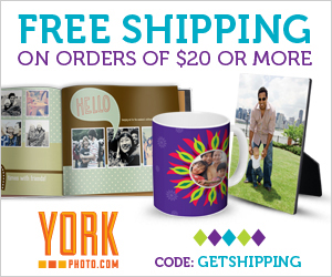 Free Shipping On Orders Of $20 Or More at YorkPhoto.com!