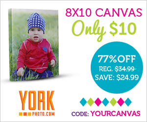 8X10 Custom Photo Canvas – Only $10 – Save $24.99!