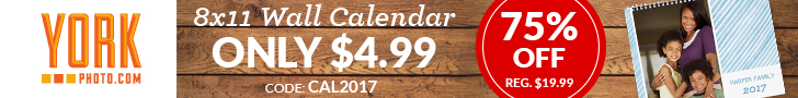 2017 Custom Photo Wall Calendar - Only $4.99 - Save $15!