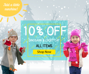 Get 10% off all Kidorable Dinosaur & Lucky Cat items.