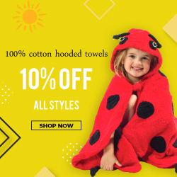 Get 10% off all styles 100% cotton hooded towels
