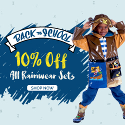 Back To School Sale. Get 10% Off All Kidorable Rainwear Sets.