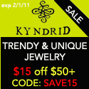 <link>SAVE $15 on orders $50+ with code: SAVE15  at KYNDRID Jewelry for Men & Women exp 2/1/11 </link>