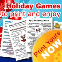 Printable Christmas, holiday and new years games for the family