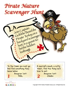 Nature Scavenger Hunt Pirate Game