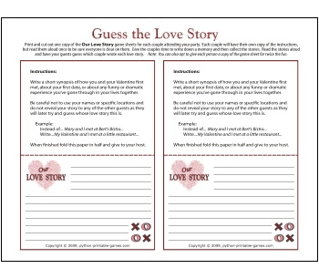 Guess The Love Story: Valentine's Party Game