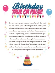 40th Birthday Game: True or False
