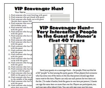 40th Birthday VIP Scavenger Hunt game