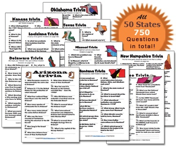 All 50 United States Trivia Pack. 750 trivia questions and answers for just $19.95!