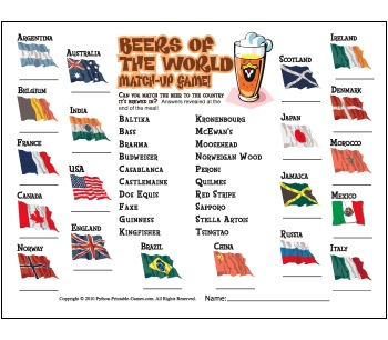Printable Pub and Party Games: Beers of the World Trivia