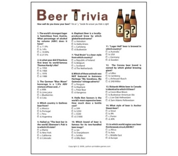 Father's Day Gift Idea: Beer Trivia multi choice game