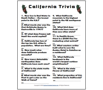California Trivia game