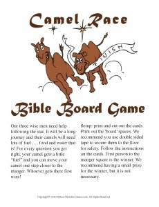 Camel Race Bible Trivia Questions printable board game