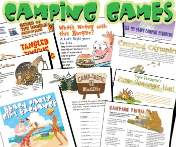 Printable Games for Camping bargain pack of 16