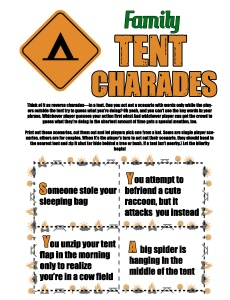 Games to play while camping: Tent Charades, family and adult  version