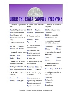 Under The Stars Synonyms Camping Game