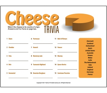 Adult Picnic Game: Cheese Trivia