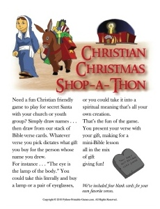 Shop-a-Thon Christian Christmas gift exchange game