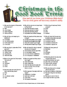 Christmas Bible trivia game