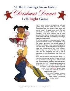 Christmas Dinner Left-Right Game