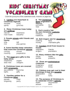Christmas Vocabulary Game For Kids