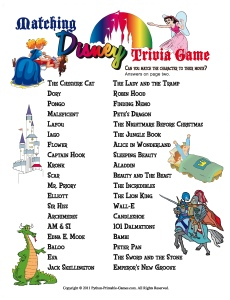 Activities for Slumber Parties: Disney Characters Match Game