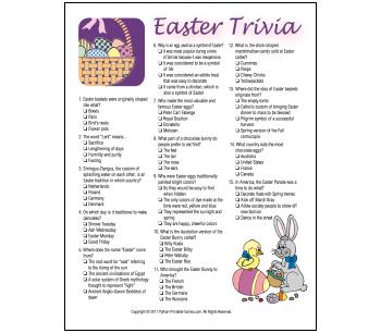 Multi-choice Printable Easter Trivia Game
