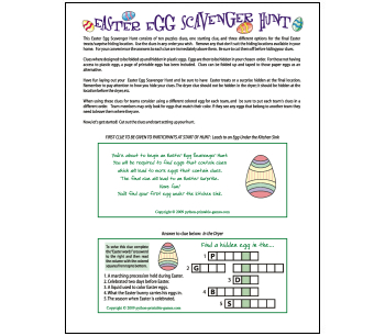 Easter Egg Hunt Clues printable game