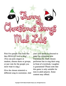 Funny Christmas Songs Mad Libs Game