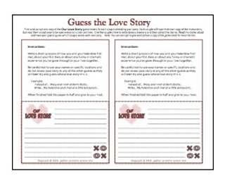Printable Valentines Party Games: Valentine Guess the Love Stories party game