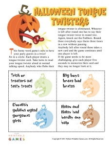 Halloween Tongue Twisters game