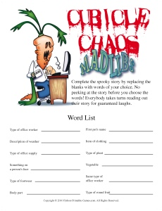 Cubicle Chaos Mad Libs adult party game