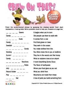 Chew On This Candy Names game for kids