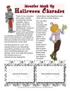 monster mash up halloween charades game