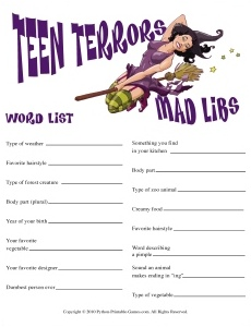 Teen Terrors Halloween Mad Libs game