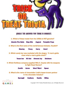 Trick Or Treat Halloween Trivia Game