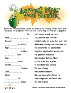 What Word? Harvest Word Game for kids
