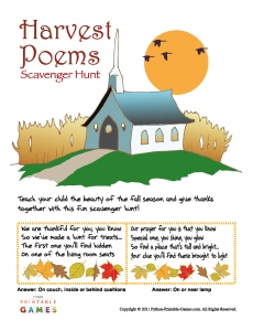 Harvest Poems Scavenger Hunt for kids