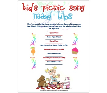 Picnic Mad Libs Game For Kids
