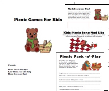 Printable Kids Picnic Games Pack
