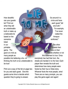 Lie To Me Adult Birthday Game