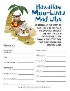 Hawaiian Moo-Luau Mad Libs luau game