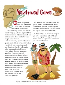 Luau Newlywed Questions Game