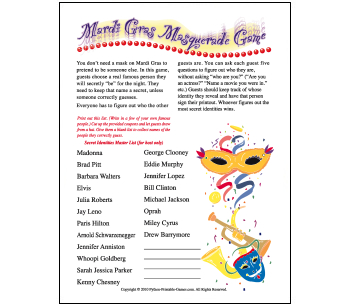 Mardi Gras Party Games: Masquerade