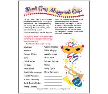Mardi Gras Party Games: Masquerade