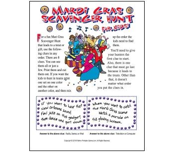 Mardi Gras Scavenger Hunt For Kids