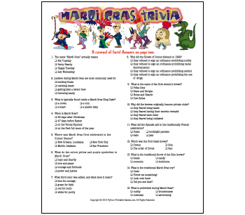 New Orleans Mardi Gras Trivia Game
