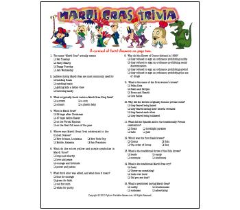New Orleans Mardi Gras Party Game: printable trivia