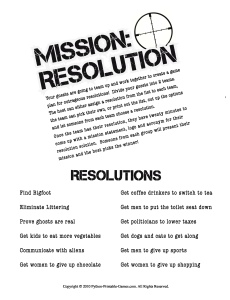 Mission: Resolution New Year's Eve Game