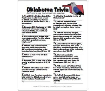 Oklahoma Trivia game